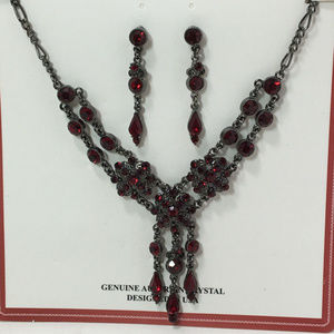 Genuine Red Austrian Crystal NecklacE SET USA